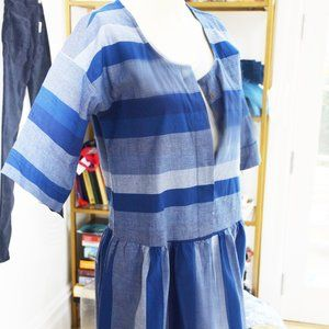 KOPAL STRIPED COTTON DRESS SZ S